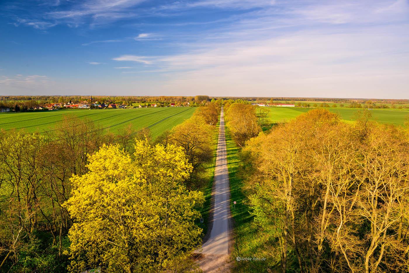 Blick von der Siegessäule nach Hakenberg und das ehemalige Schlachtfeld