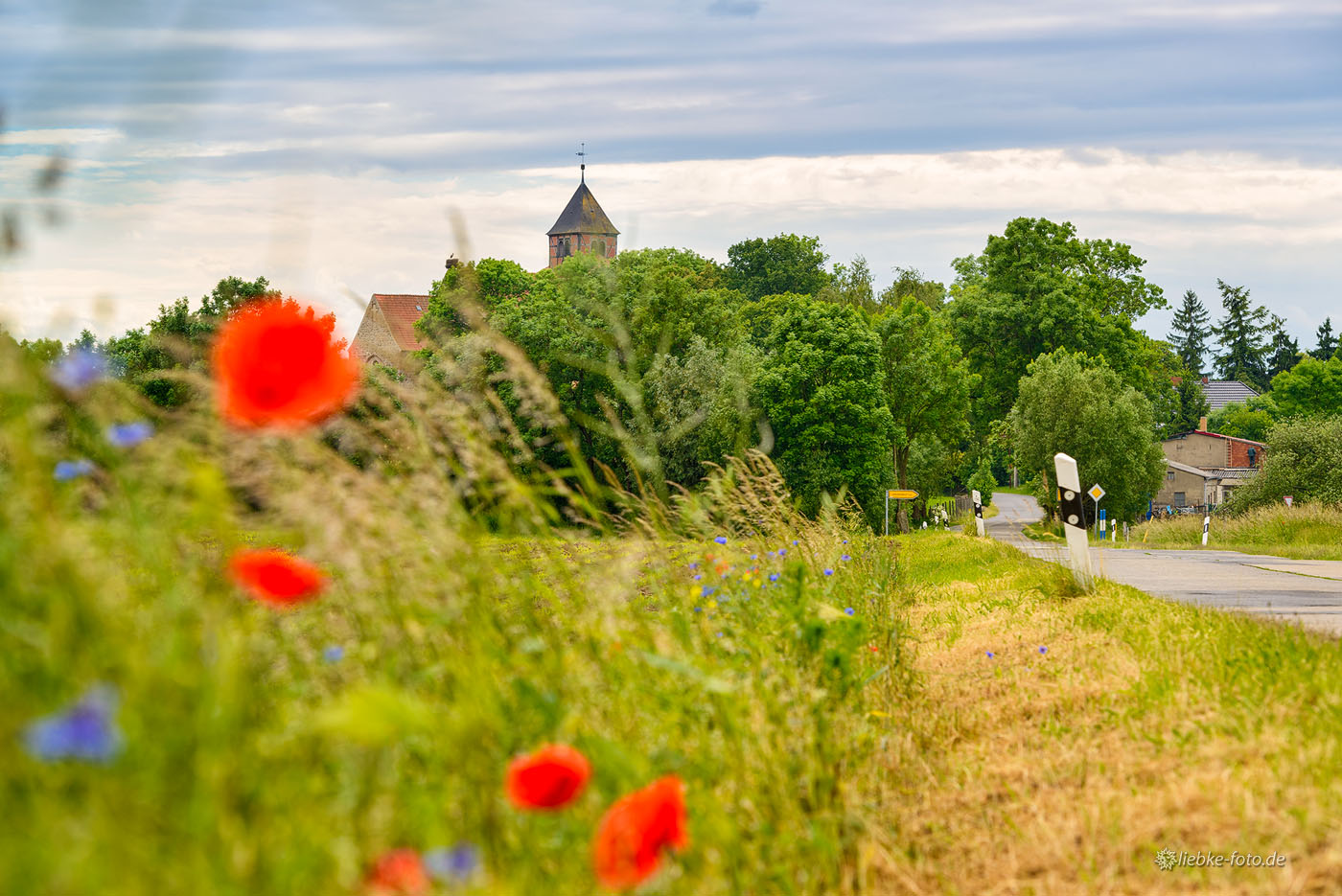 Die Kirche mit Storchennest in Hetzdorf in der Uckermark