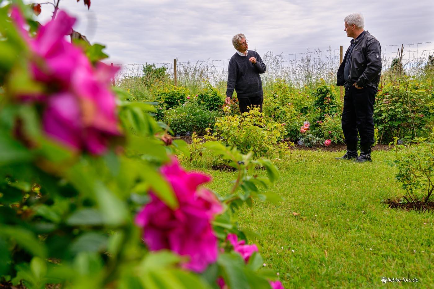 Pastor Ulrich Kasparick erzählt Propst Andreas Haerter die Geschichte des Gartens