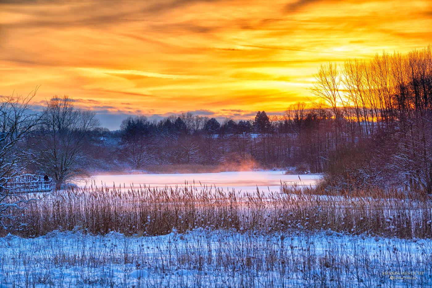 Winterabend am Mühlensee Vehlefanz