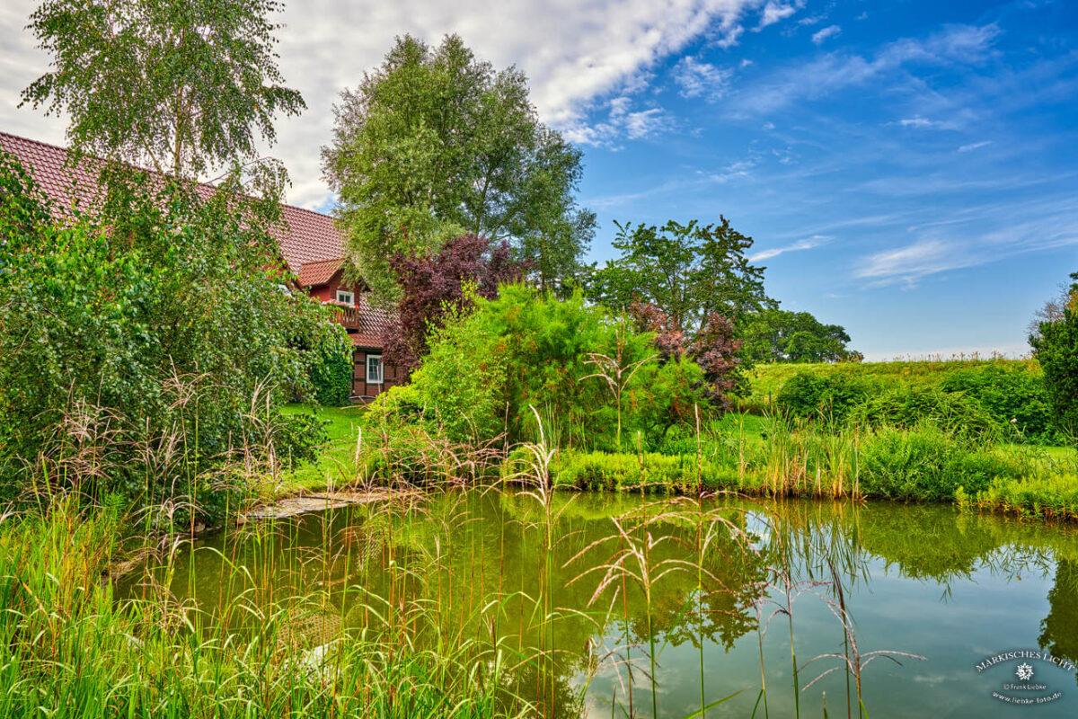 Landhaus Elbeflair in der Lenzerwische, Der kleine hübsche Teich hinterm Landhaus