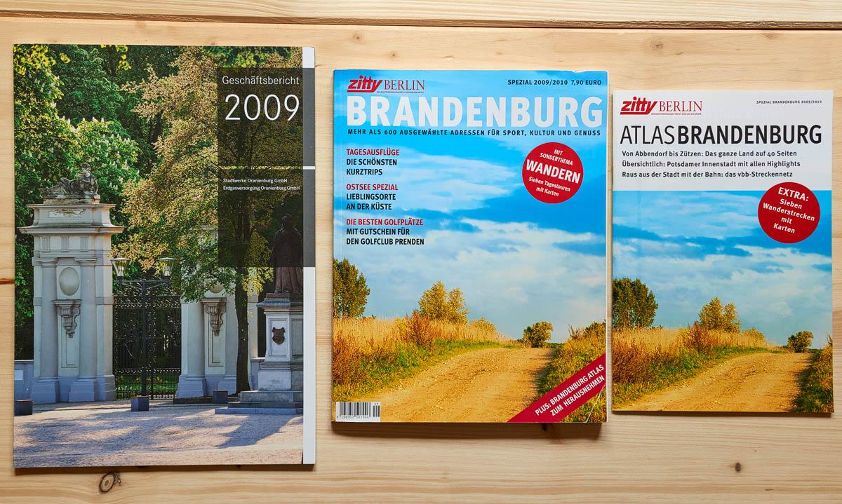 """Titelbilder Sonderheft Brandenburg von """"zitty"""" und Fotoausstattung SWO-Geschäftsbericht"""